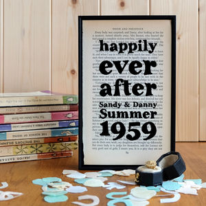Personalised 'Happily Ever After' Wedding Gift Print - posters & prints