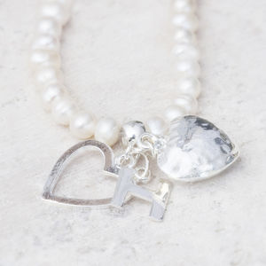 Alina Personalised Pearl Heart Necklace - flower girl jewellery