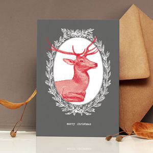 Grey Reindeer Print Christmas Card