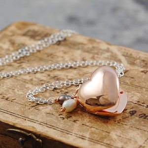 Rose Gold Heart Locket Necklace - for mothers