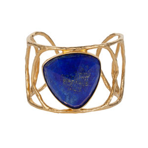 Erana Goddess Lapis Lazuli Cuff Bracelet - into the blue