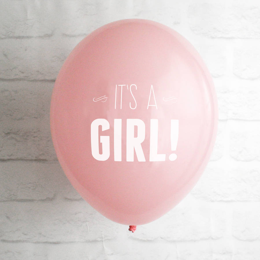 new baby balloon announcement card by white knot
