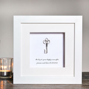 Personalised Key To A Happy Marriage Box Frame - children's pictures & paintings