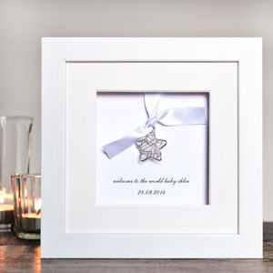 Personalised New Baby Wire Star Box Frame - children's pictures & paintings
