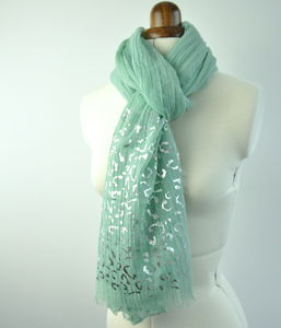 Aqua Pastel Scarf With Silver Print - women's accessories
