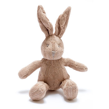 Cable Knit Soft Organic Bunny Bell Rattle