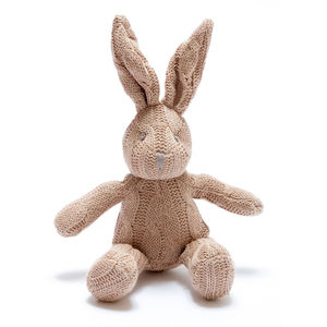 Organic Cable Knit Soft Bunny Bell Rattle - new baby gifts