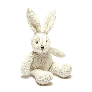 Soft Knit Baby Bunny Bell Rattle - new baby gifts