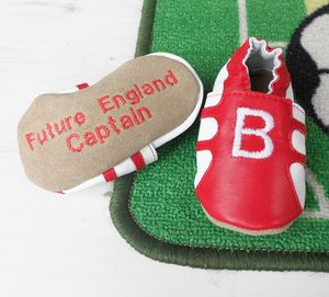 Baby's Initial First Football Booties - personalised gifts for babies