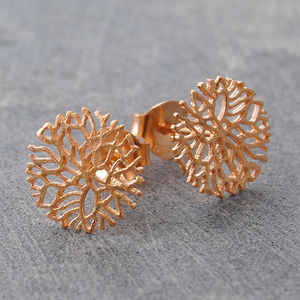 Rose Gold Frost Circular Stud Earrings - rose gold jewellery