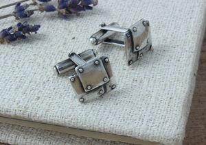 Steampunk Style Sterling Silver Cufflinks - men's accessories