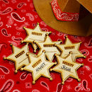 Cowboy Wooden Sheriff Party Name Badge