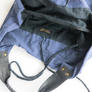Hava Bag Inside View of central zip pocket and tie closure