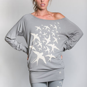 Swallow Flock Long Sleeve Top - women's fashion