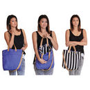 Reversible Stripe Shopper Bag With Leather Handles