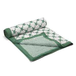 Hand Printed Frog Quilted Blanket - bedspreads & quilts