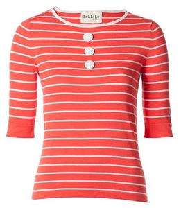 Ladies Breton Cotton Knit Button Top - summer sale