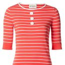 Ladies Breton Cotton Knit Button Top