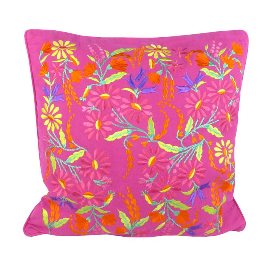 Pink Floral Embroidered Cushion By Lulu And Nat