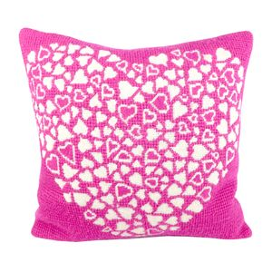 Pink Heart Tapestry Cushion
