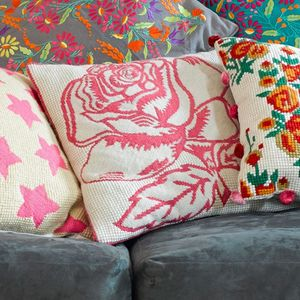 Pink Rose Tapestry Cushion - patterned cushions