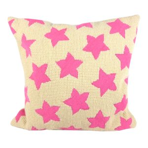 Pink Star Tapestry Cushion - patterned cushions
