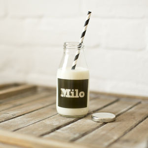 Personalised Monochrome School Retro Milk Bottle - storage & organising
