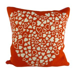 Red Heart Tapestry Cushion - bedroom