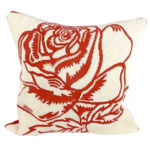 Red Rose Tapestry Cushion - bedroom