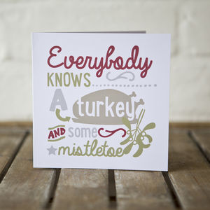 Personalised Turkey And Mistletoe Christmas Card Pk4 - cards & wrap