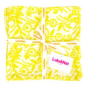 Yellow Floral Napkins Set Of Six - kitchen