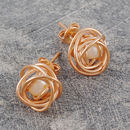 Rose Gold Caged June Birthstone Pearl Stud Earrings