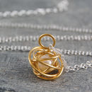 Gold Caged White Pearl Necklace
