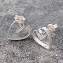 Heart Lace Silver Stud Earrings