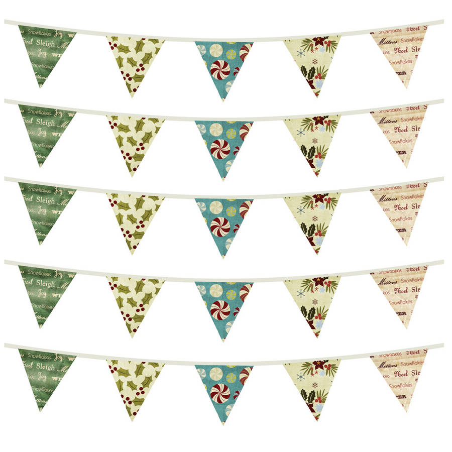 Fabric Christmas Bunting Wall Stickers By Spin Collective
