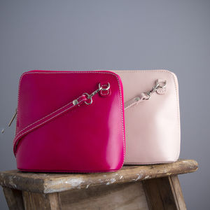 Pink Leather Handbag - cross-body bags