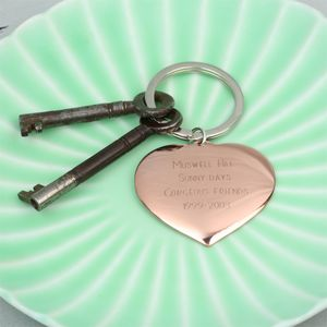 Engraved Heart Memento Keyring - keyrings