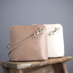 Neutral Leather Handbag - cross-body bags