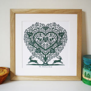 Personalised Family Tree Heart Print - posters & prints
