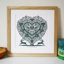 Thumb personalised treeheart with stags print