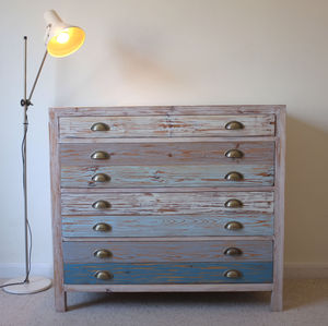 Beach Hut Style Chest Of Drawers Reclaimed Wood - furniture
