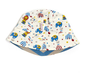 Reversible Grey And Blue Circus Sunhat - hats, scarves & gloves