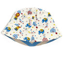 Reversible Grey And Blue Circus Sunhat