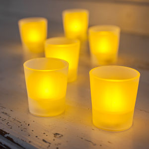 Set Of Six Frosted LED Tea Lights - votives & tea light holders
