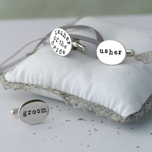 Personalised Silver Wedding Cufflinks - best man & usher gifts