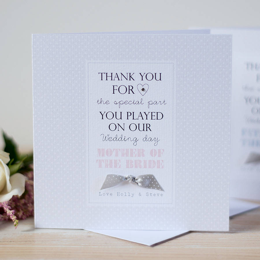 how to write thank you notes for wedding gift cards%0A Personalised Mother Of The Bride Wedding Card