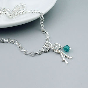 Initial And Birthstone Silver Bracelet - bracelets & bangles