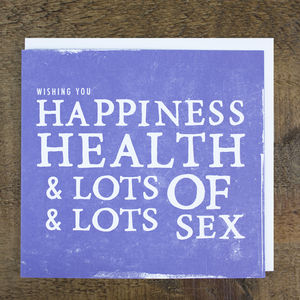'Health, Happiness And Sex' Wedding Card