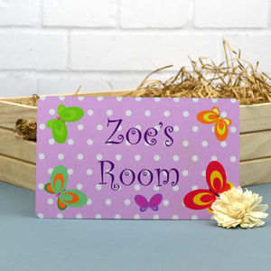 Girls Butterfly Personalised Door Sign