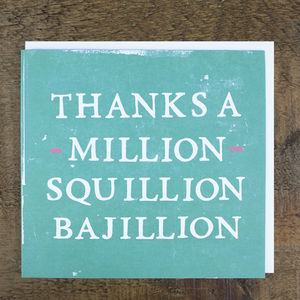 'Thanks A Million' Card - thank you cards
